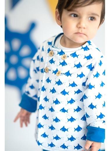 Nila Kids Shark Çift Yönlü Organik Kız Bebek Ceket Mavi
